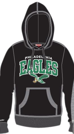 Philadelphia Eagles Mitchell & Ness Vintage Throwback Hooded Sweatshirt (Black) - Dynasty Sports & Framing