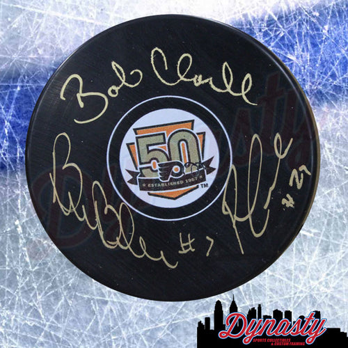 LCB Line (Bob Clarke/Bill Barber/Reggie Leach) Autographed Philadelphia Flyers 50th Anniversary Puck - Dynasty Sports & Framing