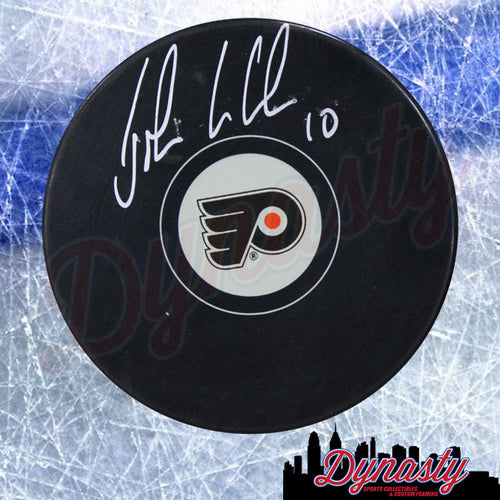 John LeClair Autographed Philadelphia Flyers Hockey Logo Puck