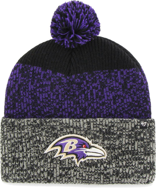 Baltimore Ravens NFL Football Static On-Field Pom Winter Hat - Dynasty Sports & Framing