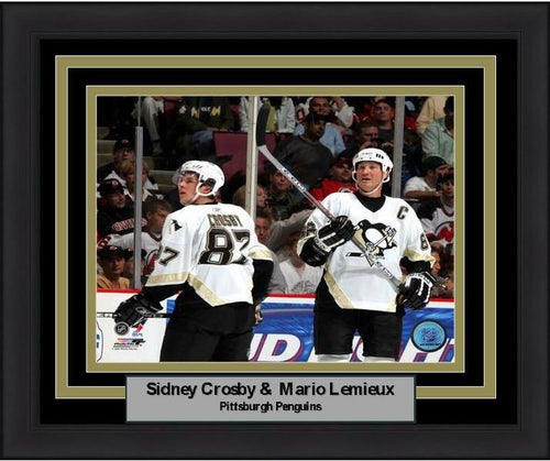 "Sidney Crosby & Mario Lemieux Pittsburgh Penguins 8"" x 10"" Framed Hockey Photo - Dynasty Sports & Framing"