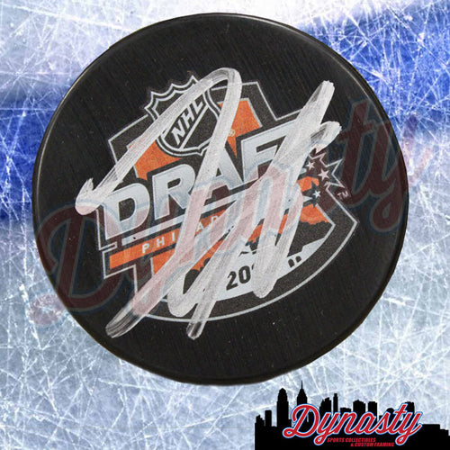 Travis Sanheim Philadelphia Flyers Autographed 2014 Draft Night Logo Puck - Dynasty Sports & Framing