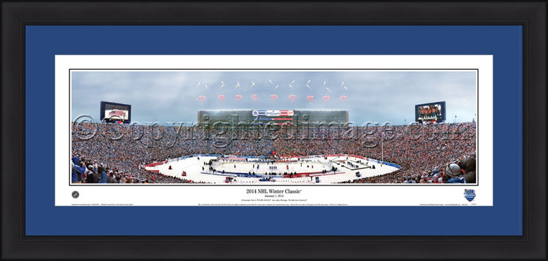 "Toronto Maple Leafs Michigan Stadium 2014 Winter Classic 42"" x 18"" Framed and Matted Stadium Panorama - Dynasty Sports & Framing"