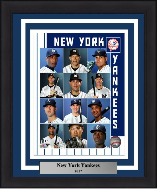 "New York Yankees Collage 2017 MLB Baseball 8"" x 10"" Framed and Matted Photo - Dynasty Sports & Framing"