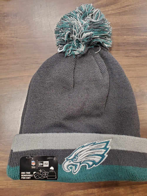 Philadelphia Eagles Charcoal Knit New Era Winter Pom Hat - Dynasty Sports & Framing