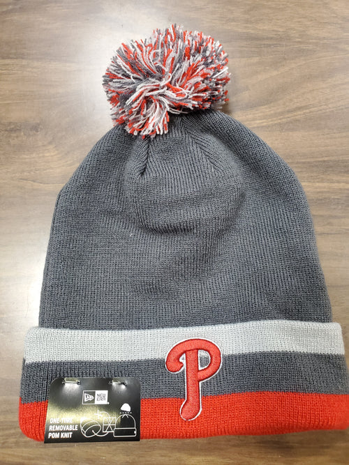 Philadelphia Phillies Red & Charcoal Knit New Era Winter Pom Hat - Dynasty Sports & Framing