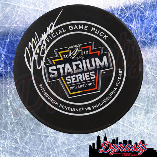 Philippe Myers Philadelphia Flyers Autographed 2019 Stadium Series NHL Hockey Game Puck - Dynasty Sports & Framing