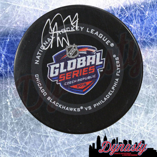 Carter Hart Philadelphia Flyers Autographed NHL Hockey Global Series Puck - Dynasty Sports & Framing