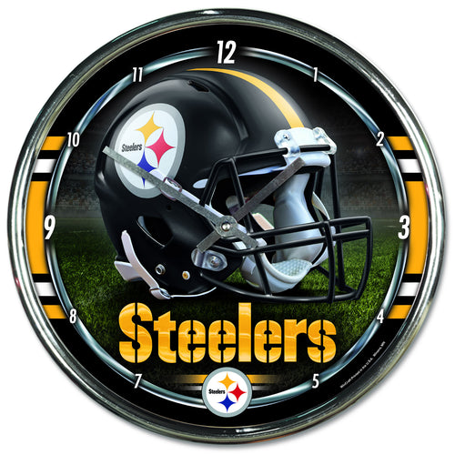 Pittsburgh Steelers Round Chrome Clock