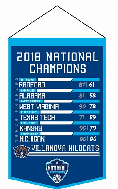 Villanova Wildcats 2018 National Champions Match Up Wool Banner - Dynasty Sports & Framing