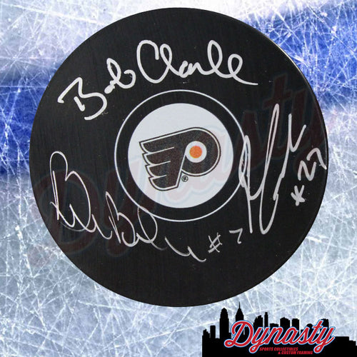 LCB Line (Bob Clarke, Bill Barber, Reggie Leach) Autographed Philadelphia Flyers Hockey Logo Puck - Dynasty Sports & Framing