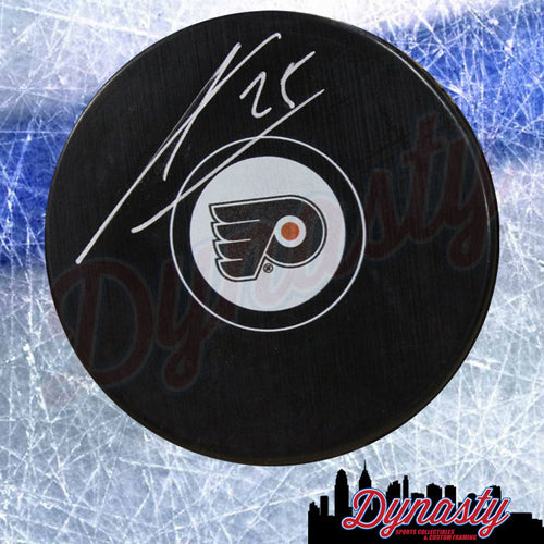 James van Riemsdyk Autographed Philadelphia Flyers Hockey Logo Puck - Dynasty Sports & Framing