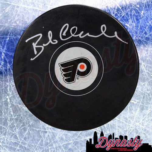 Bob Clarke Autographed Philadelphia Flyers Hockey Logo Puck - Dynasty Sports & Framing