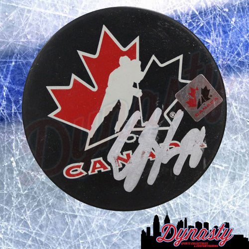 Claude Giroux Autographed Philadelphia Flyers Team Canada Olympics Logo Puck - Dynasty Sports & Framing