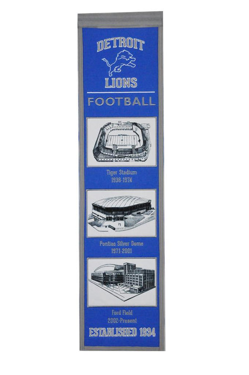 Detroit Lions Stadiums NFL Football Heritage Banner - Dynasty Sports & Framing