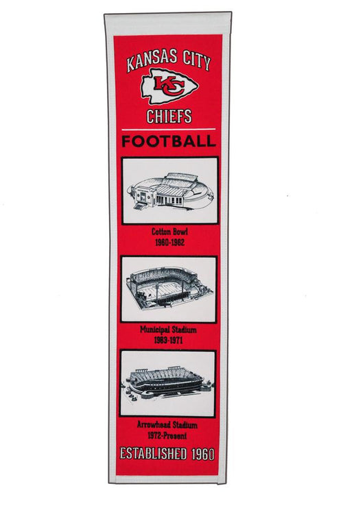 Kansas City Chiefs Stadiums NFL Football Heritage Banner - Dynasty Sports & Framing