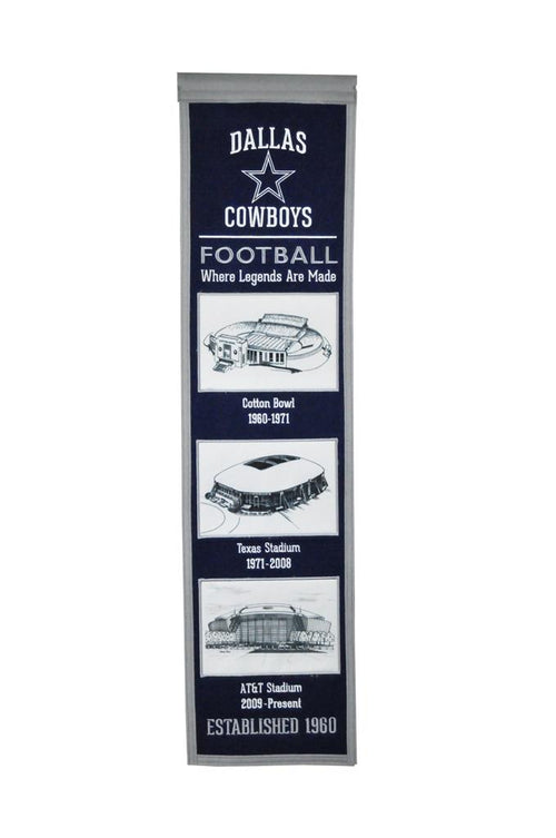 Dallas Cowboys Stadiums NFL Football Heritage Banner