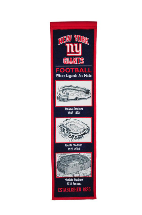 New York Giants Stadiums NFL Football Heritage Banner - Dynasty Sports & Framing