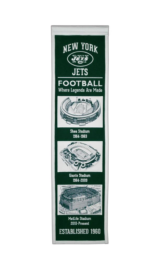 New York Jets Stadiums NFL Football Heritage Banner - Dynasty Sports & Framing