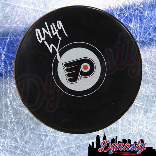 Alex Lyon Philadelphia Flyers Autographed NHL Hockey Logo Puck