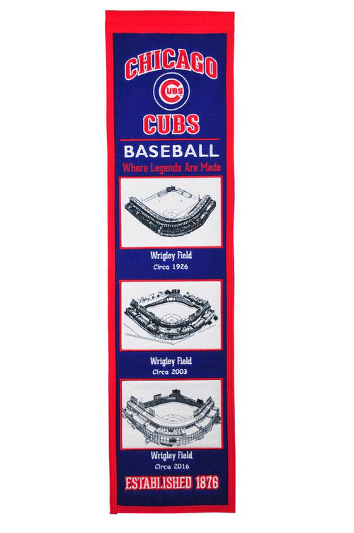 Chicago Cubs Stadiums MLB Baseball Heritage Banner - Dynasty Sports & Framing