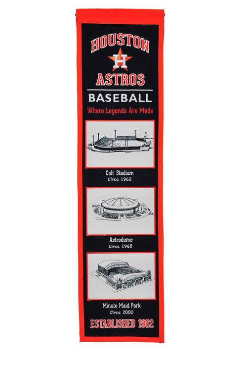 Houston Astros Stadiums MLB Baseball Heritage Banner - Dynasty Sports & Framing