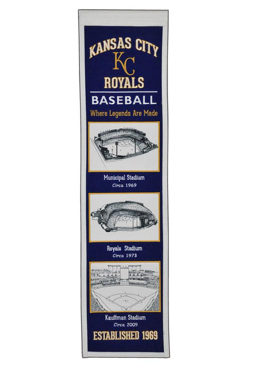Kansas City Royals Stadiums MLB Baseball Heritage Banner