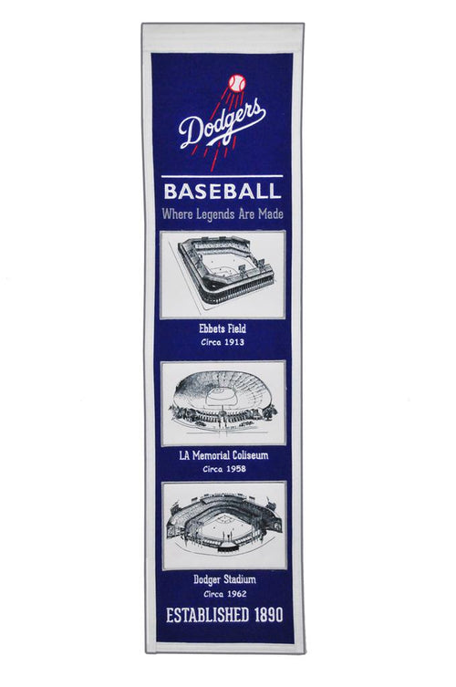 Los Angeles Dodgers Stadiums MLB Baseball Heritage Banner - Dynasty Sports & Framing