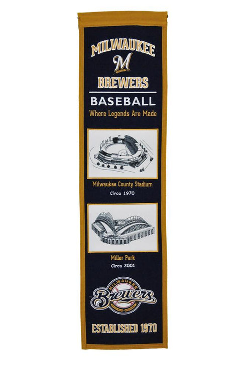 Milwaukee Brewers Stadiums MLB Baseball Heritage Banner - Dynasty Sports & Framing