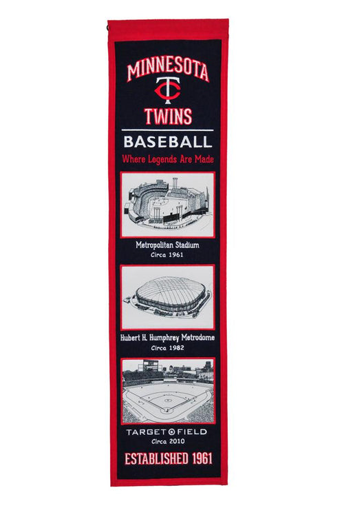 Minnesota Twins Stadiums MLB Baseball Heritage Banner - Dynasty Sports & Framing