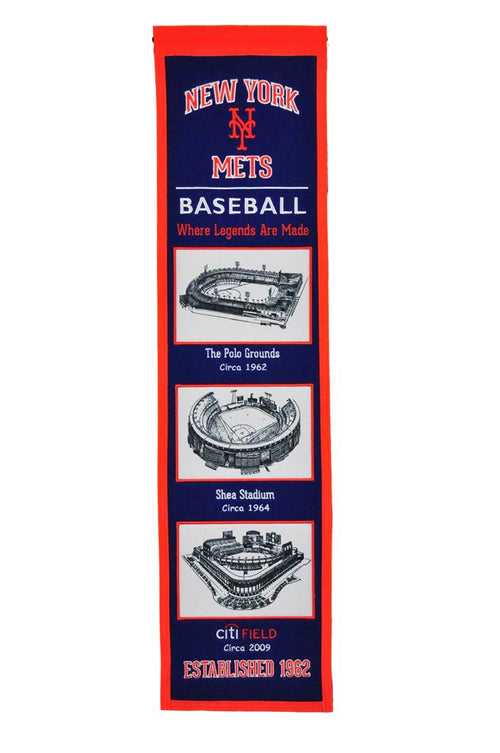 New York Mets Stadiums MLB Baseball Heritage Banner - Dynasty Sports & Framing