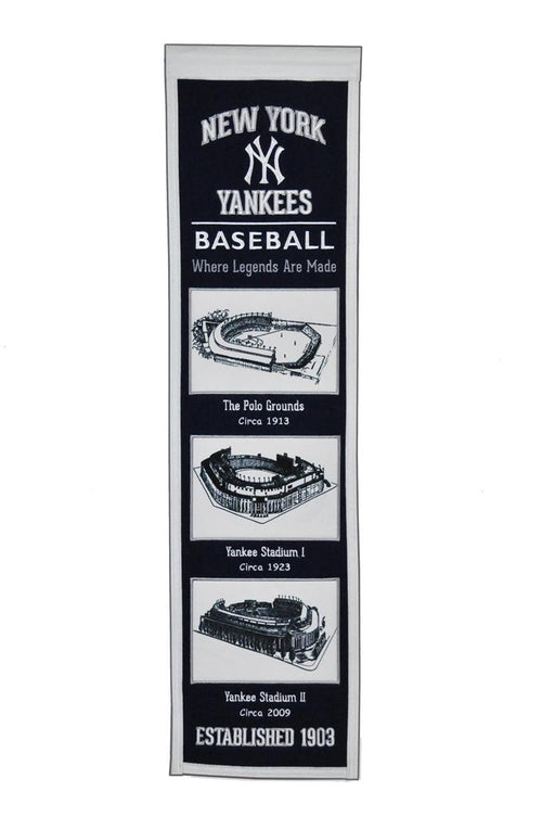 New York Yankees Stadiums MLB Baseball Heritage Banner