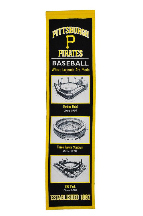 Pittsburgh Pirates Stadiums MLB Baseball Heritage Banner - Dynasty Sports & Framing