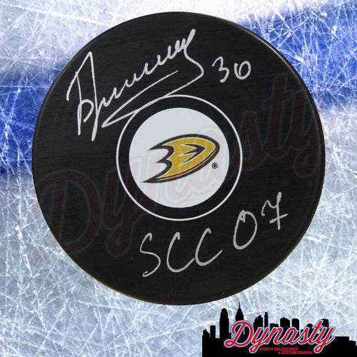 Ilya Bryzgalov Anaheim Ducks Autographed NHL Hockey Logo Puck with 'SCC 07' Inscription - Dynasty Sports & Framing