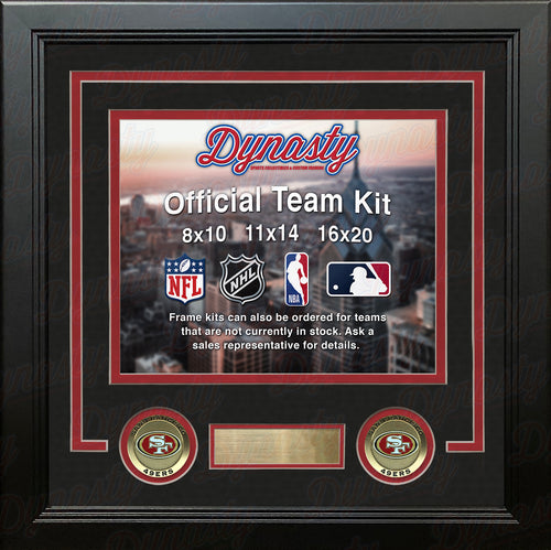 NFL Football Photo Picture Frame Kit - San Francisco 49ers (Black Matting, Red Trim) - Dynasty Sports & Framing