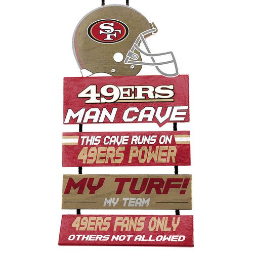 San Francisco 49ers NFL Football Wooden Helmet Man Cave Dangle Sign - Dynasty Sports & Framing
