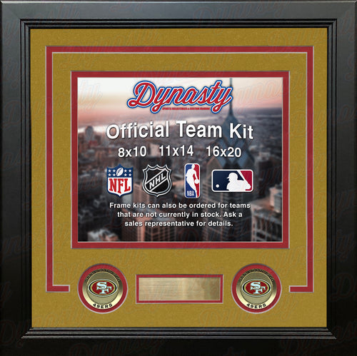 NFL Football Photo Picture Frame Kit - San Francisco 49ers (Gold Matting, Red Trim) - Dynasty Sports & Framing