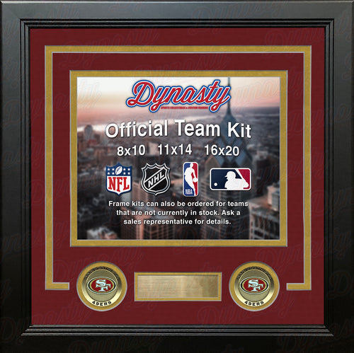 NFL Football Photo Picture Frame Kit - San Francisco 49ers (Red Matting, Gold Trim) - Dynasty Sports & Framing
