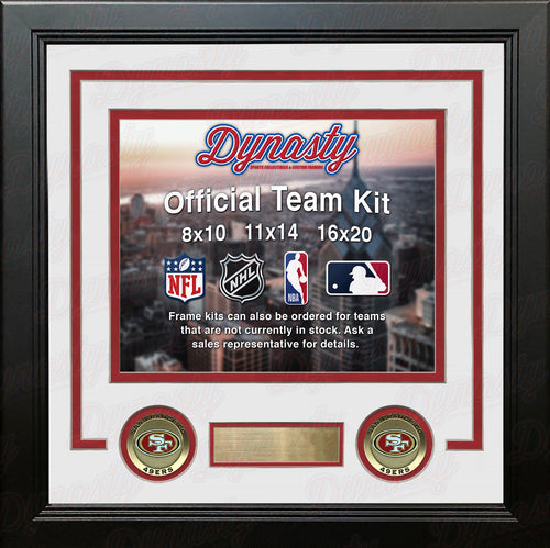 NFL Football Photo Picture Frame Kit - San Francisco 49ers (White Matting, Red Trim) - Dynasty Sports & Framing
