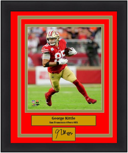 "George Kittle in Action San Francisco 49ers 8"" x 10"" Framed Football Photo with Engraved Autograph - Dynasty Sports & Framing"