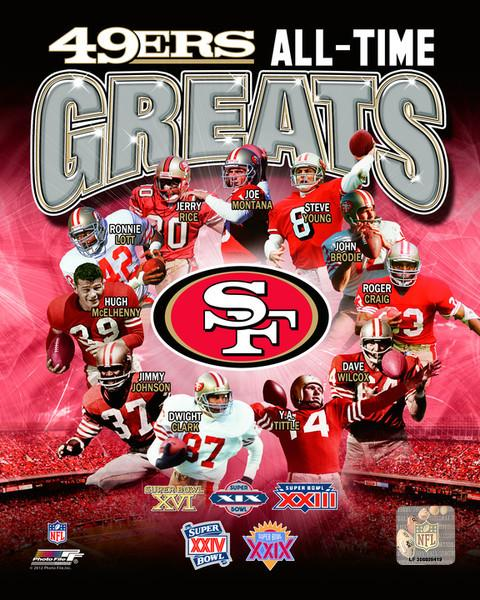 "San Francisco 49ers All-Time Greats NFL Football 8"" x 10"" Photo"
