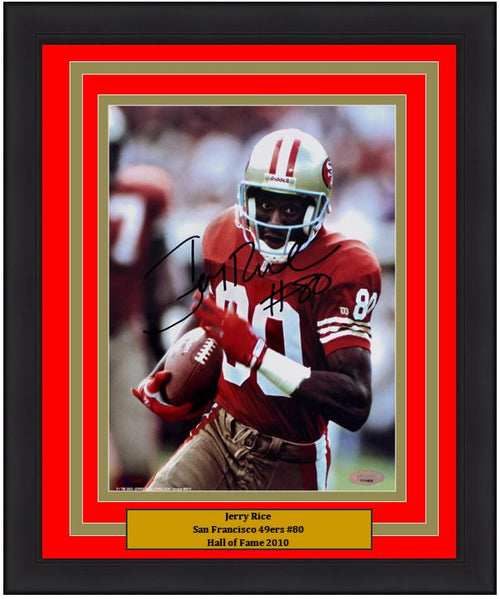 "Jerry Rice San Francisco 49ers Autographed NFL Football 8"" x 10"" Framed and Matted Photo"