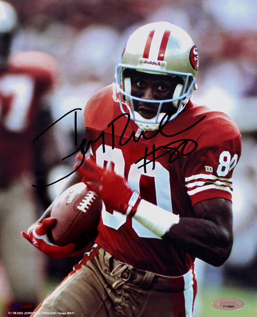 "Jerry Rice San Francisco 49ers Autographed NFL Football 8"" x 10"" Photo"