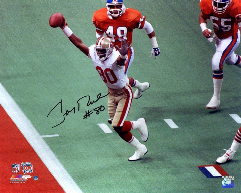 Jerry Rice San Francisco 49ers Super Bowl XXIV Autographed NFL Football Photo - Dynasty Sports & Framing