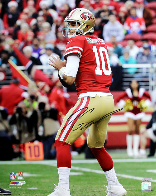 "Jimmy Garoppolo San Francisco 49ers Autographed NFL Football 16"" x 20"" Photo"