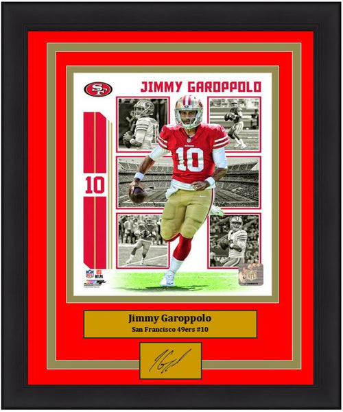 "Jimmy Garoppolo Player Collage San Francisco 49ers NFL Football 8"" x 10"" Framed and Matted Photo with Engraved Autograph"