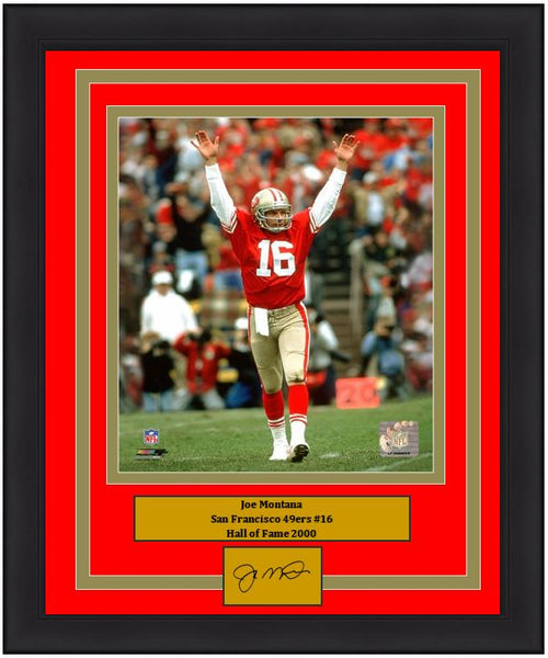 "San Francisco 49ers Joe Montana 8"" x 10"" Engraved Autograph Football Framed & Matted Photo (Dynasty Signature Collection)"