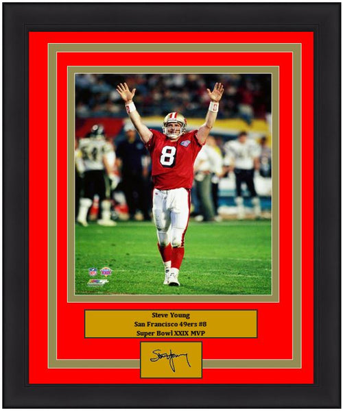 "San Francisco 49ers Steve Young Super Bowl XXIX 8"" x 10"" Engraved Autograph Football Framed & Matted Photo (Dynasty Signature Collection)"
