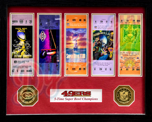 San Francisco 49ers Super Bowl Championship Ticket Framed Collage - Dynasty Sports & Framing