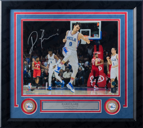 Philadelphia 76ers Dario Saric Autographed NBA Basketball Framed and Matted Photo